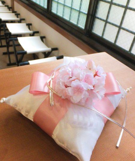 桜のリングピロー